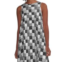 Rustic Charcoal Gray and Black Patchwork A-Line Dress