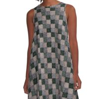 Rustic Gray Green Beige Black Patchwork A-Line Dress