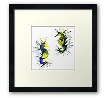 Two green seahorses Framed Print