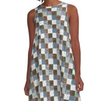 Rustic Brown Gray Blue Patchwork A-Line Dress