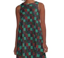 Rustic Red Green and Blue Patchwork A-Line Dress