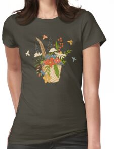 Basket with a bouquet of flowers, seamless background Womens Fitted T-Shirt