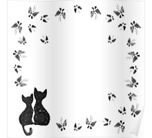 Cats with butterflies Poster