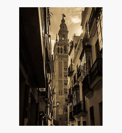 Seville - The Giralda in Sepia Tones Photographic Print