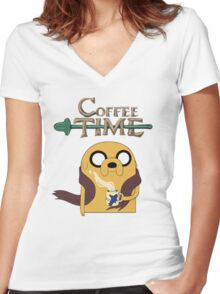 It's Coffee Time! Women's Fitted V-Neck T-Shirt