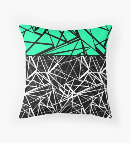 Black and white abstract geometric pattern with green insert .  Throw Pillow