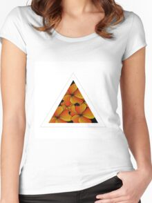 orange flowers in triangle Women's Fitted Scoop T-Shirt