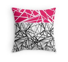 Black and white abstract geometric pattern with red inlay .  Throw Pillow