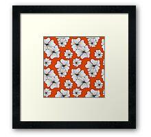 flowers on orange background Framed Print