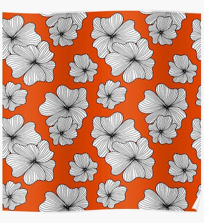 flowers on orange background Poster