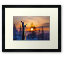 Skis on Sunset Background Framed Print