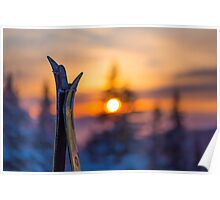 Skis on Sunset Background Poster