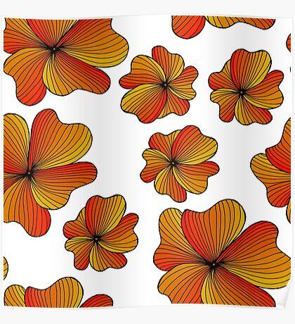 orange flowers pattern Poster