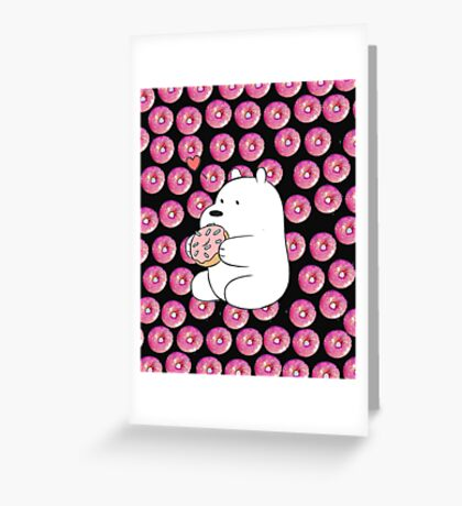 we bare bears- donut Greeting Card