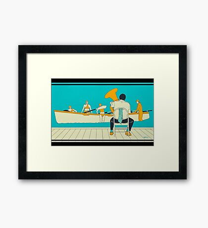 On The Beach - Yellow Shoes, acrylic painting Framed Print