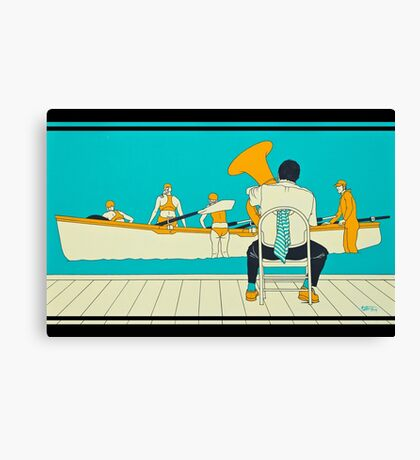 On The Beach - Yellow Shoes, acrylic painting Canvas Print