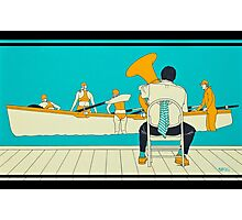 On The Beach - Yellow Shoes, acrylic painting Photographic Print