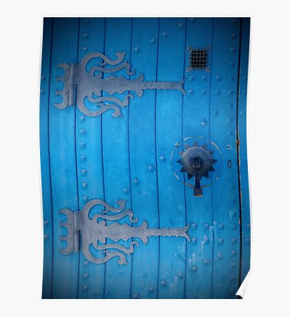 Traditional Aged Bright Blue Door in Tunisia with Iron Decorations Poster