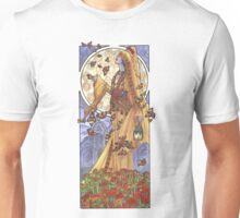 Lady of November with Chrysanthemums and Monarch Butterflies Aztec Death Goddess Mucha Inspired Birthstone Series Unisex T-Shirt