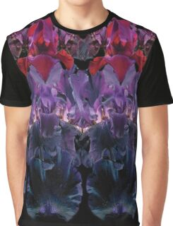 Iris Print, Red and Purple on Black Graphic T-Shirt