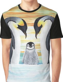 Penguin Family with Baby Penguin Graphic T-Shirt