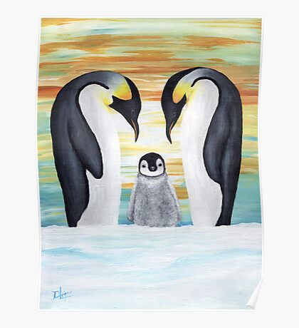 Penguin Family with Baby Penguin Poster