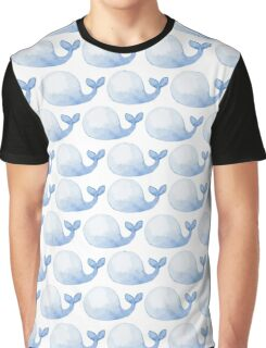 Pattern with cute blue whales Graphic T-Shirt