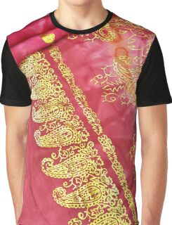 Cerise Pink Gold Asian Indian Sari Pattern Wedding Gown Graphic T-Shirt