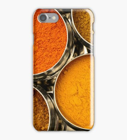 Bright Orange Yellow Asian Chef Spices Silver Indian Spice Pots iPhone Case/Skin