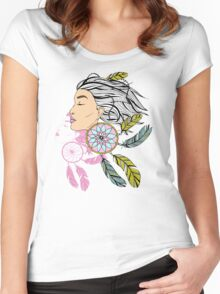 girl with a earring in boho style. sketch. Women's Fitted Scoop T-Shirt
