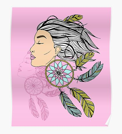 girl with a earring in boho style. sketch. Poster