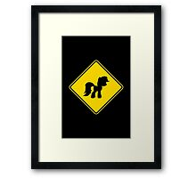 Pony Traffic Sign - Diamond Framed Print