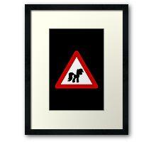 Pony Traffic Sign - Triangular Framed Print
