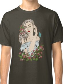 the girl in flowers with a butterfly on a shoulder Classic T-Shirt