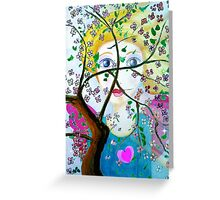 There's an angel behind the blooming tree Greeting Card