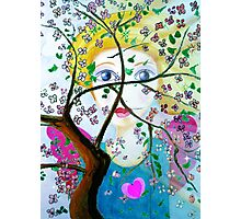 There's an angel behind the blooming tree Photographic Print