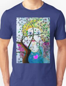 There's an angel behind the blooming tree Unisex T-Shirt