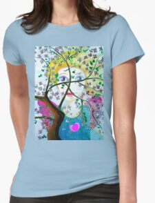 There's an angel behind the blooming tree Womens Fitted T-Shirt