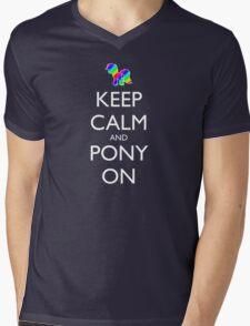 Keep Calm and Pony On - Black Mens V-Neck T-Shirt