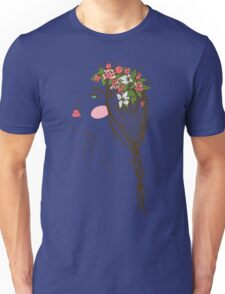 the stylized girl's silhouette with flowers in hair and a braid Unisex T-Shirt