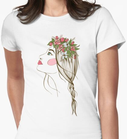 the stylized girl's silhouette with flowers in hair and a braid Womens Fitted T-Shirt