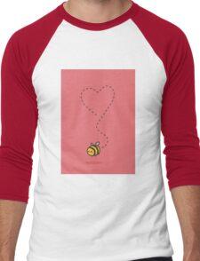 Bee Heart - Red Men's Baseball ¾ T-Shirt
