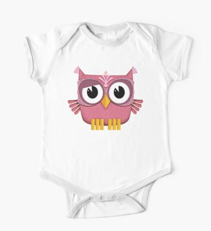 Cute Pink Owl  One Piece - Short Sleeve