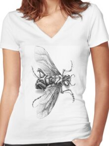 Flying Insect Women's Fitted V-Neck T-Shirt