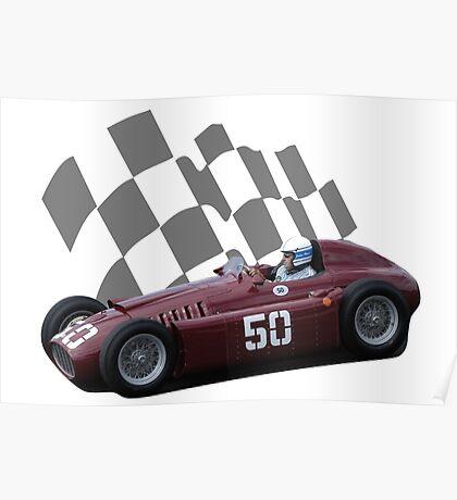 Vintage Racing Car Purple Poster