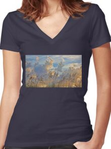 Clouds And Seaoats Women's Fitted V-Neck T-Shirt