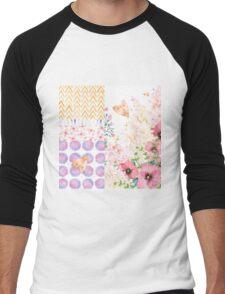 Lush Summer afternoon floral medley garden art Men's Baseball ¾ T-Shirt