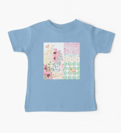 Lush watercolor floral medley Summer garden art Baby Tee