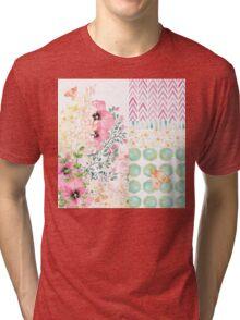 Lush watercolor floral medley Summer garden art Tri-blend T-Shirt