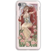 Veiled Lady of January with Pink Carnations and Snowdrop Birth Flower Corset Mucha Inspired Birthstone Series iPhone Case/Skin